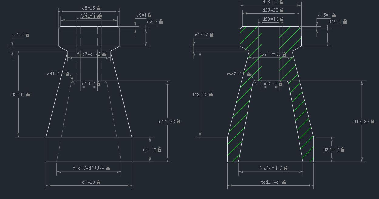 AutoCADのパラメトリック拘束例