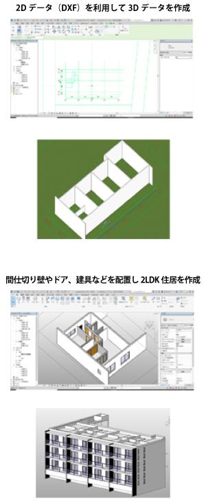 DXF利用で3Dデータ作成/間仕切り壁、ドア、建具を配置して住居作成